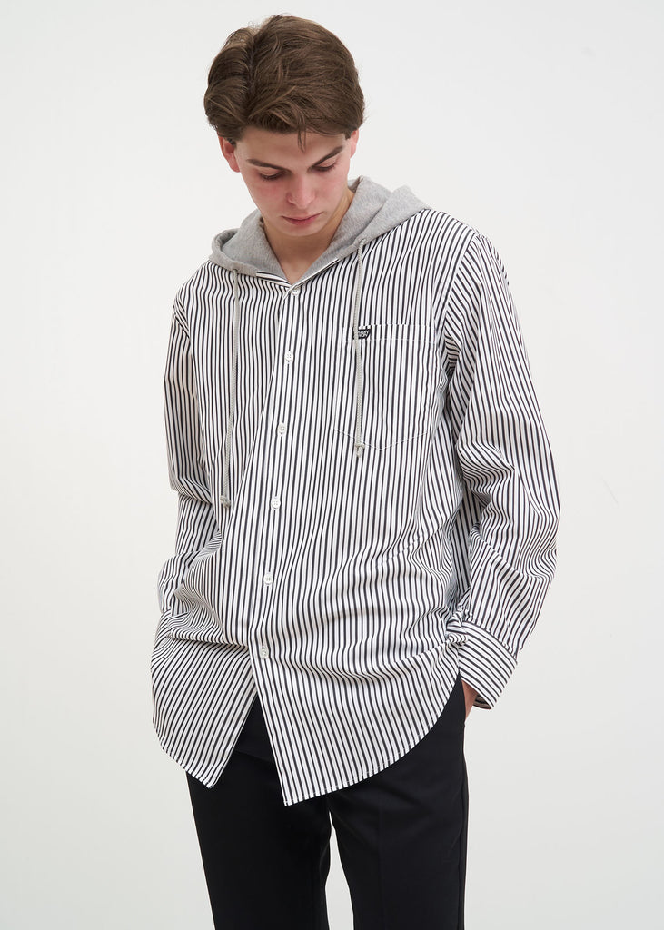 Cmmn Swdn, White Stripe Riley Hooded Shirt, 017 Shop