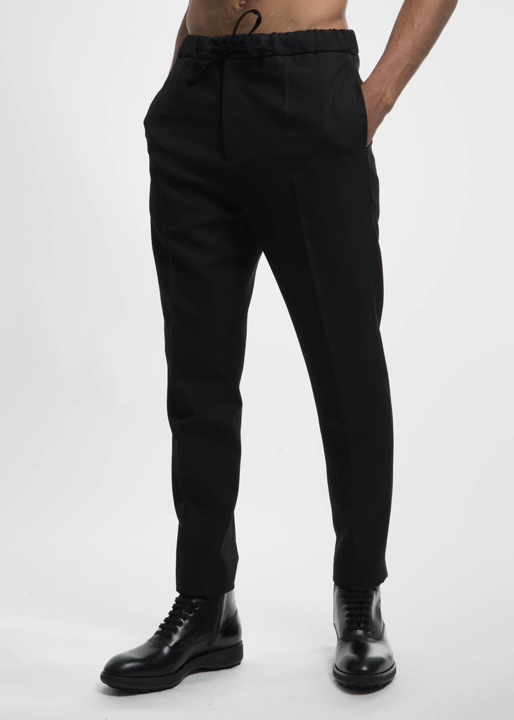 Black Stan Woven Drawstring Trousers
