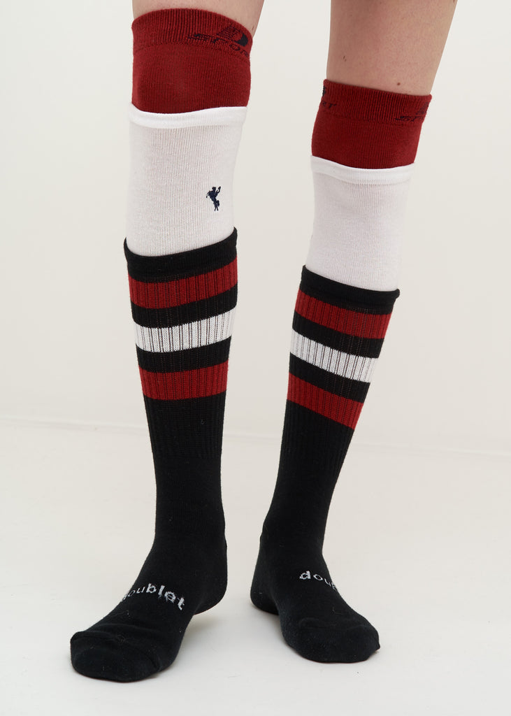 Doublet, Black 3 Layered Border Socks, 017 Shop