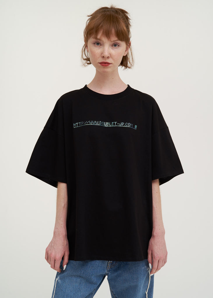 "Doublet, Black ""404"" Spangle T-Shirt, 017 Shop"