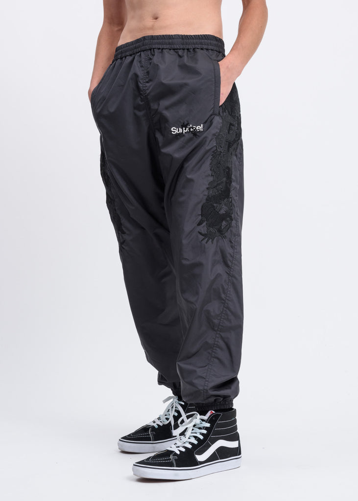 Black Chaos Embroidery Track Pants