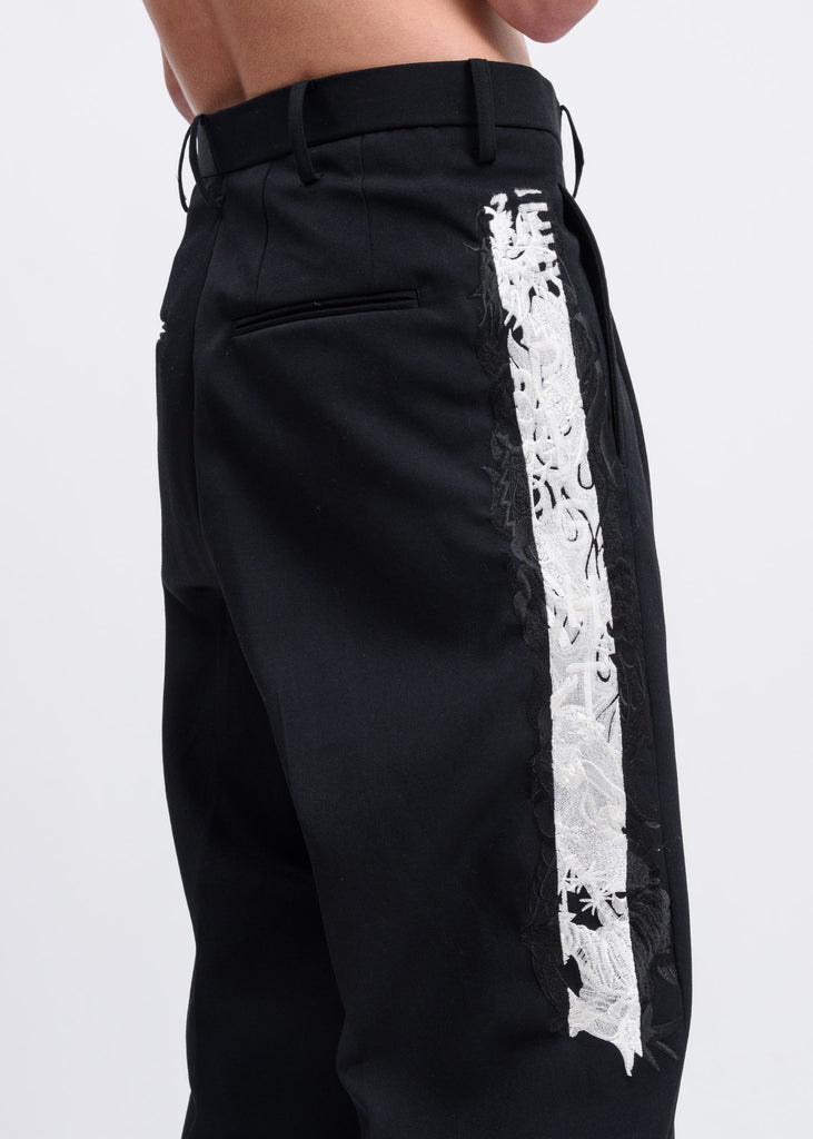 Black Chaos Embroidery Wide Tapered Trousers