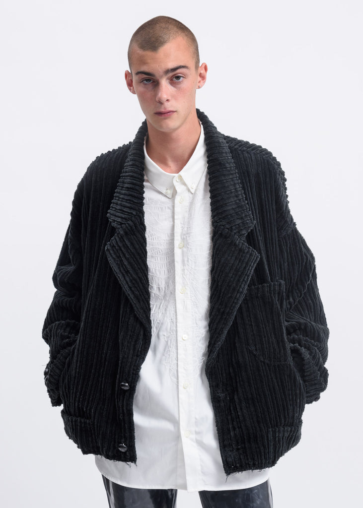 Doublet, Black Corduroy Cut-Off Jacket, 017 Shop