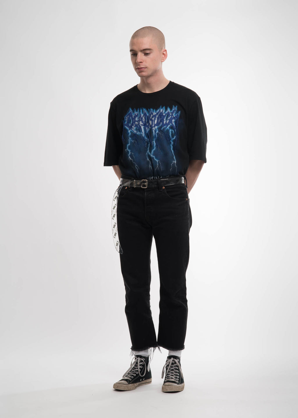 Black Deadstock Embroidery T-Shirt