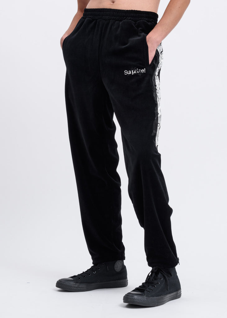 Black Lined Chaos Embroidery Track Pants