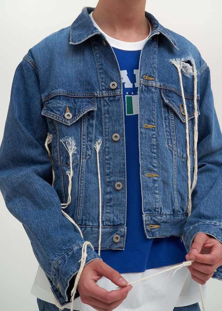 Doublet, Blue Too Much Damage Denim Jacket, 017 Shop