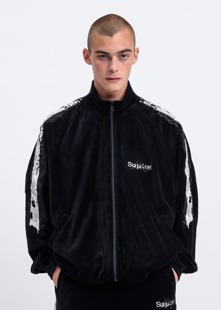 Black Lined Chaos Embroidery Track Jacket