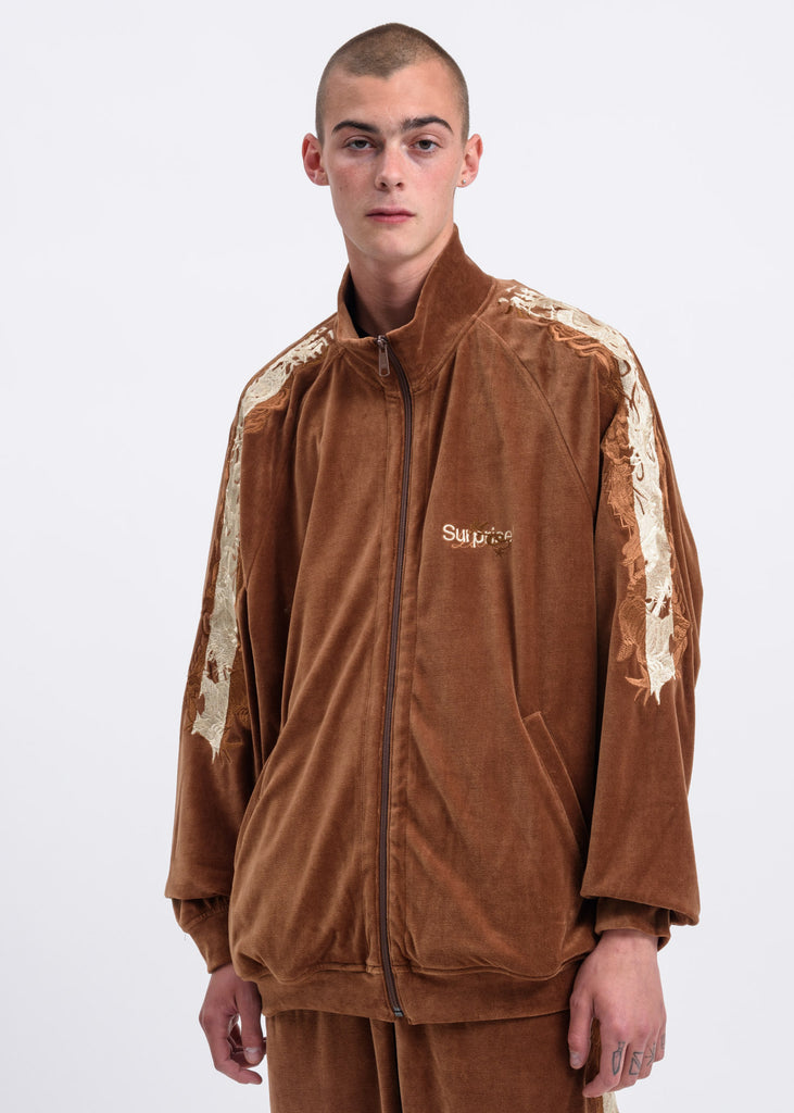 Camel Lined Chaos Embroidery Track Jacket