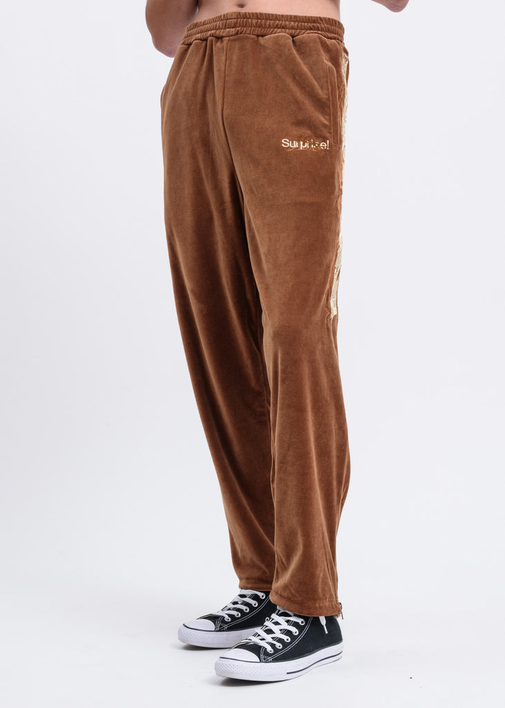 Camel Lined Chaos Embroidery Track Pants