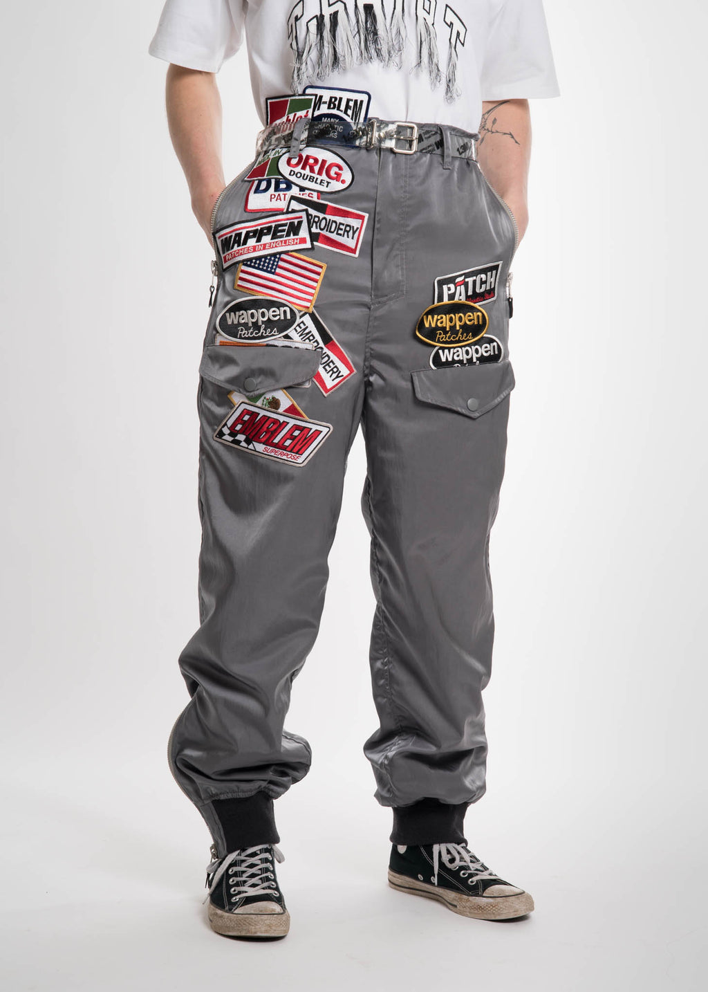 Grey Chaos Patches Nylon Pant