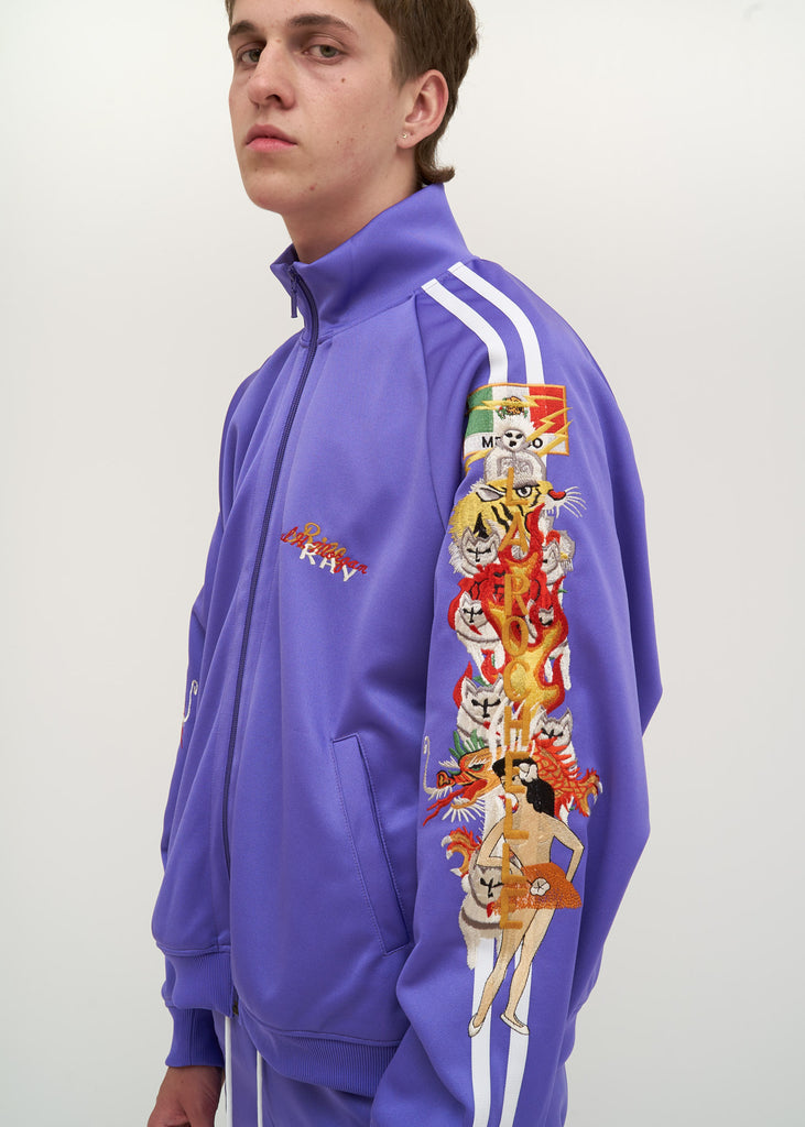 Purple Chaos Embroidery Track Jacket