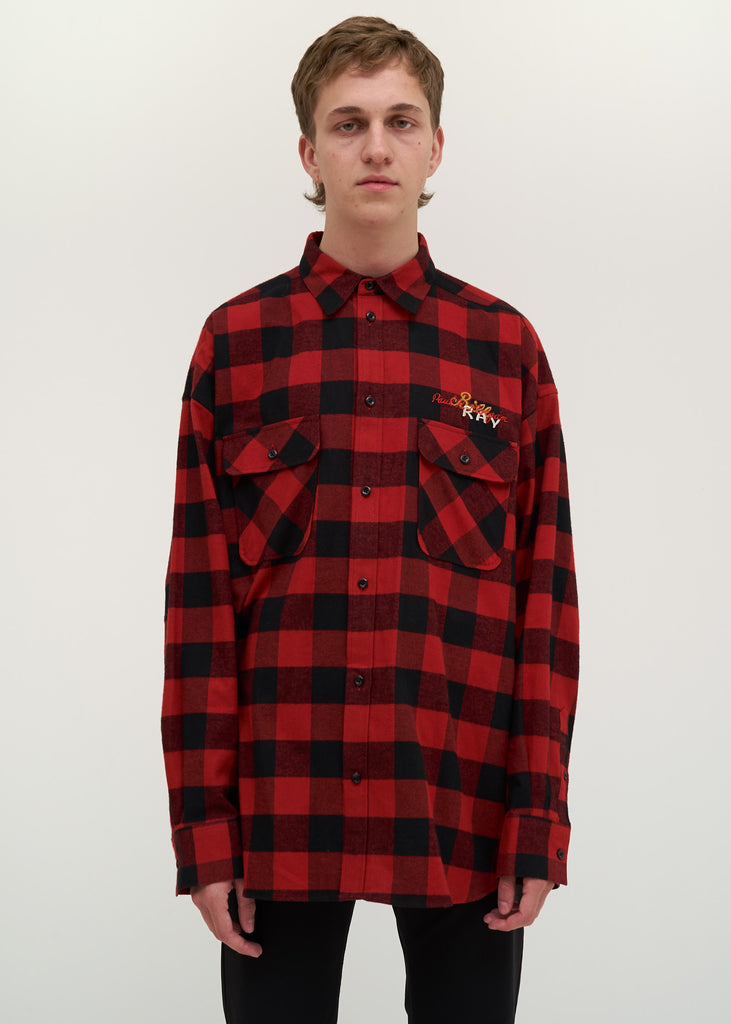 Red Chaos Embroidery Check Shirt