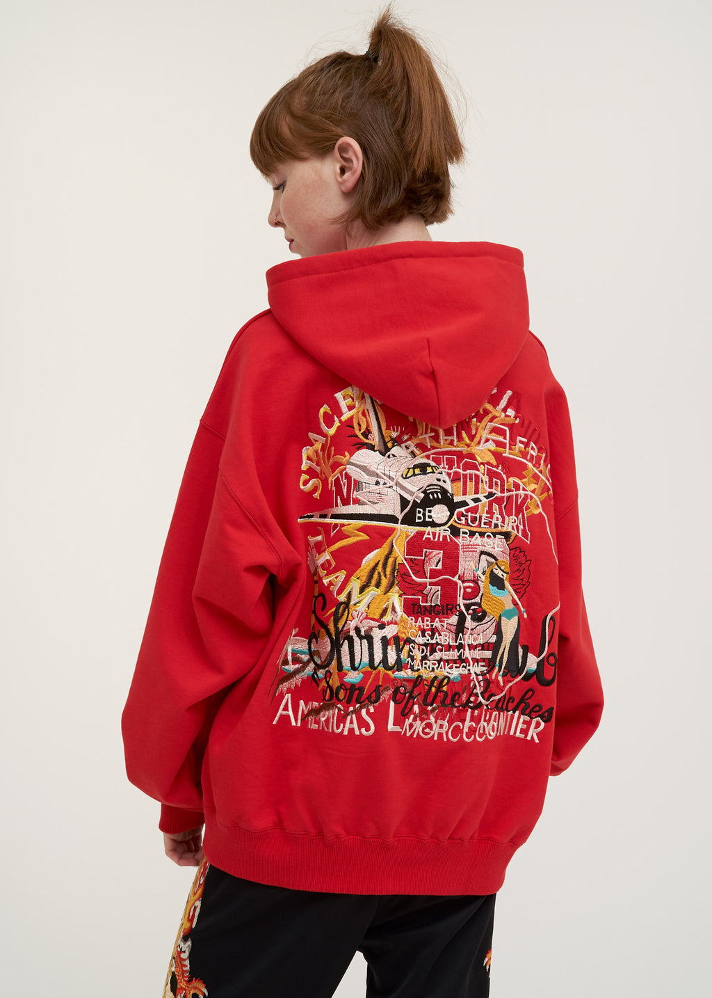 Red Chaos Embroidery Hoodie