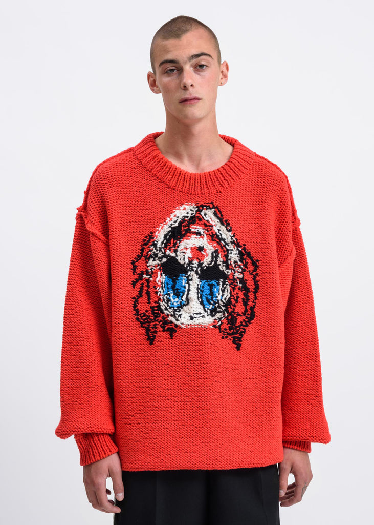 Red Hand Knitting Jacquard Pullover