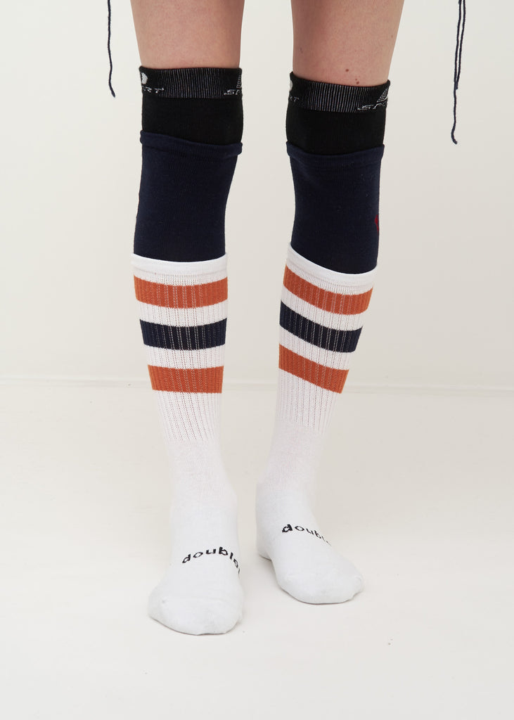 White Layered Border Socks