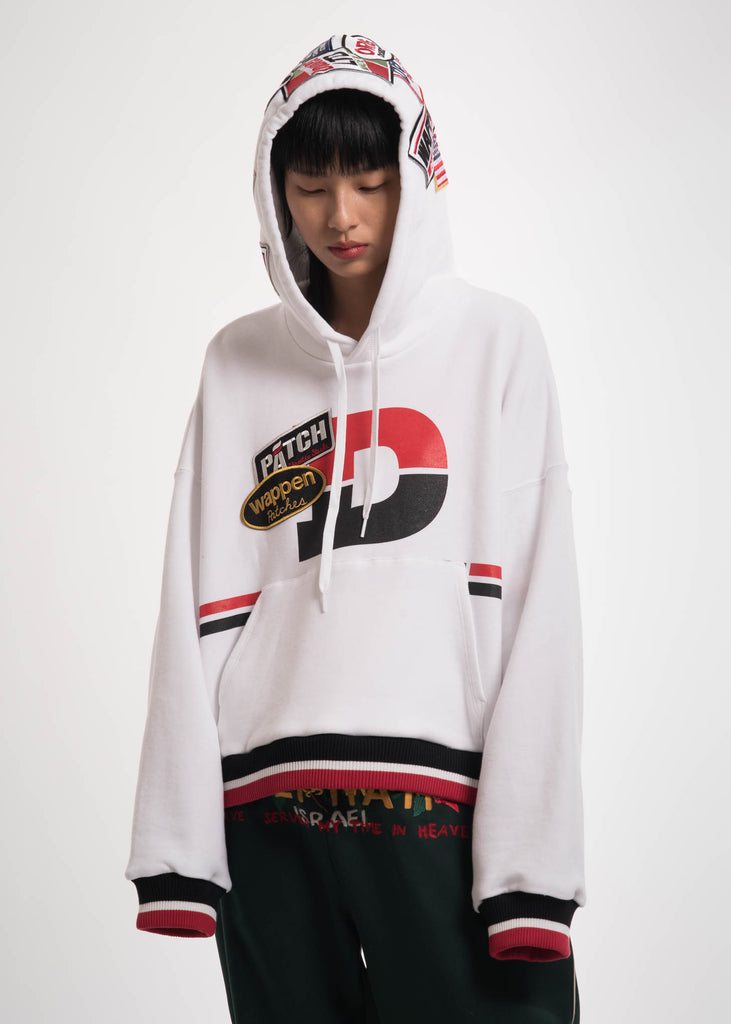 White Caos Patches Hoodie
