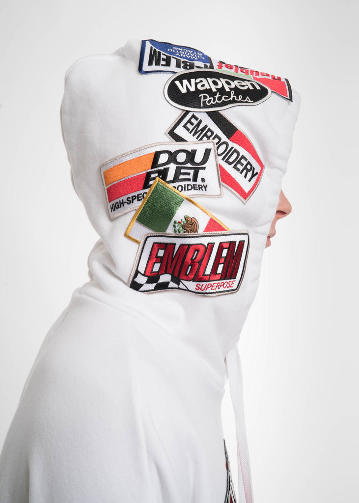 Doublet, White Caos Patches Hoodie, 017 Shop