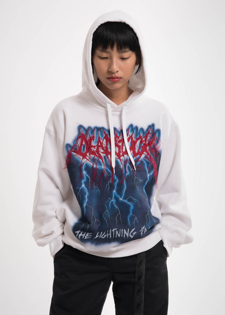 White Deadstock Embroidery Hoodie