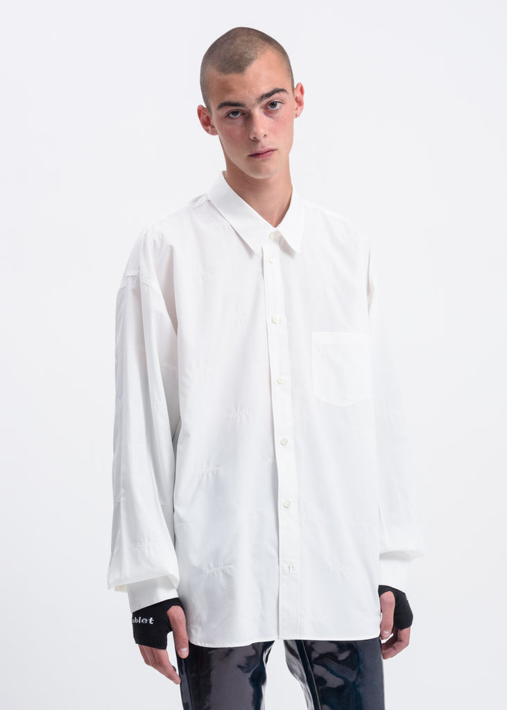 White Fabric Embroidery Shirt