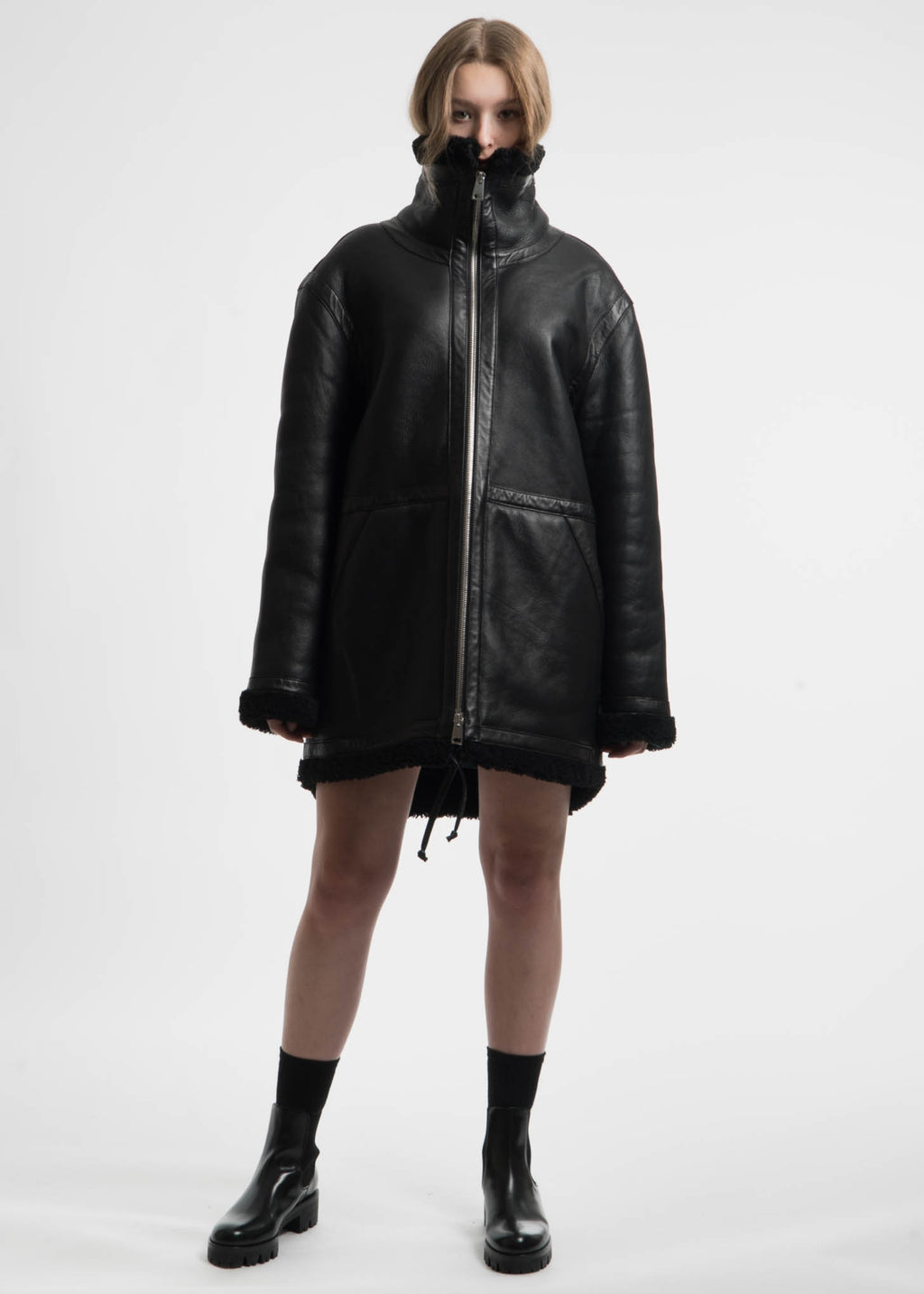 Etudes, Black Address Shearling Jacket, 017 Shop