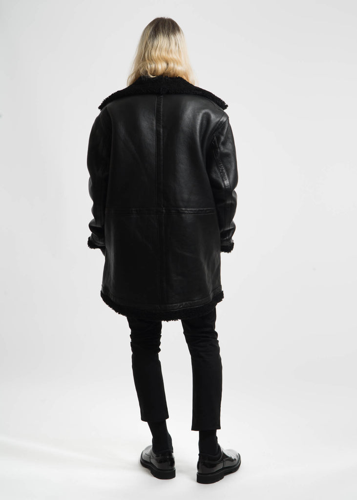 Black Address Shearling Jacket
