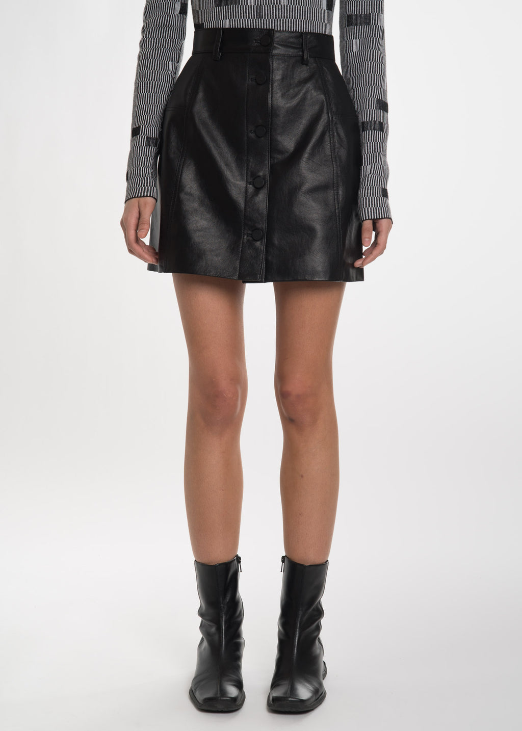Black Felicita Leather Skirt