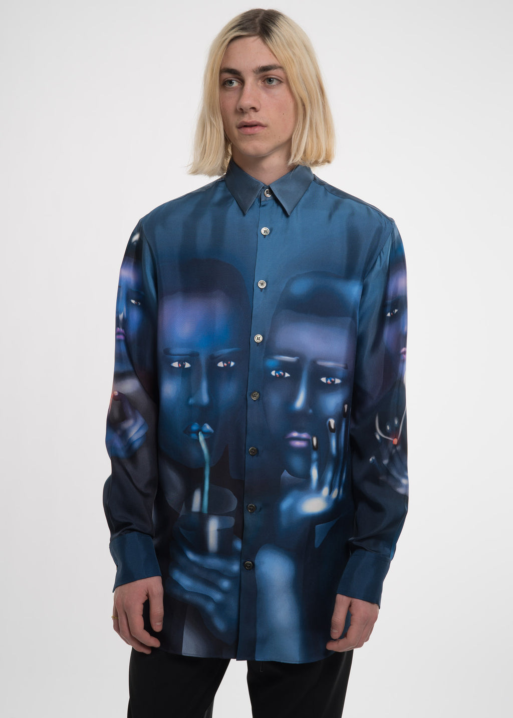 Blue Louisa Portrait Silk Shirt