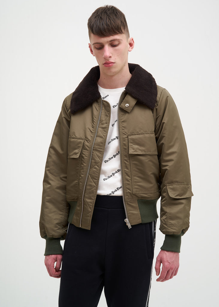 Green Expressionist Nylon Jacket