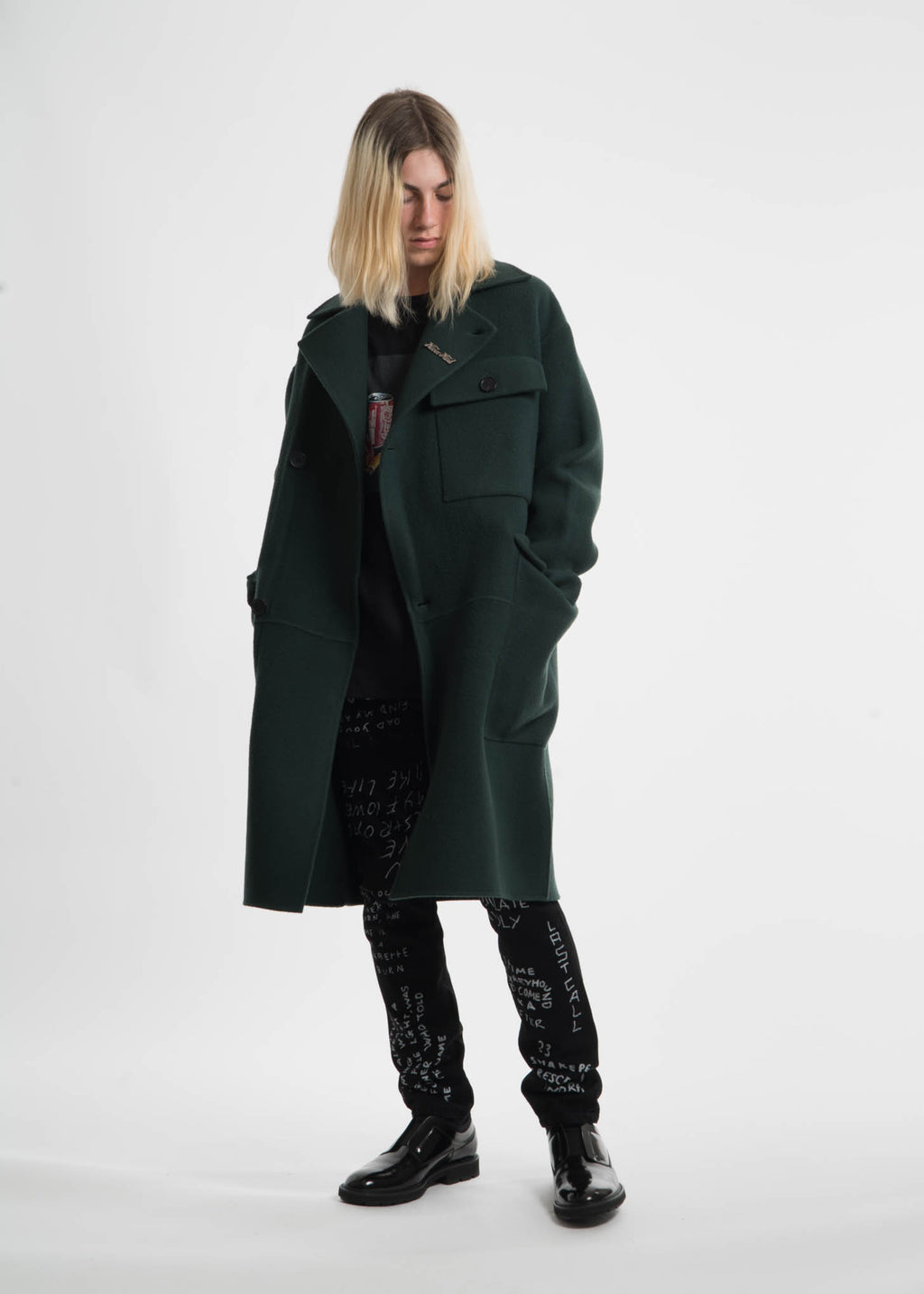 Green Monument Wool Coat