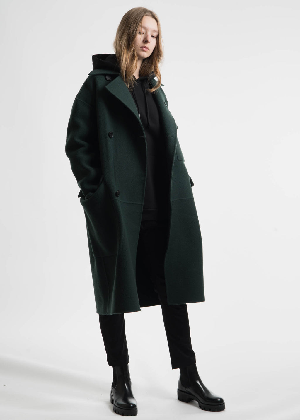 Etudes, Green Monument Wool Coat, 017 Shop