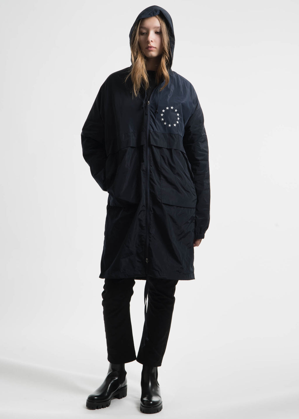 Navy Memory Tech Long Hooded Windbreaker