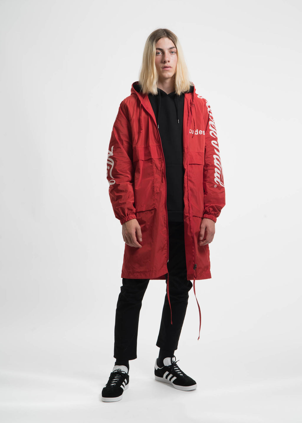 Red Memory Tech Long Hooded Windbreaker