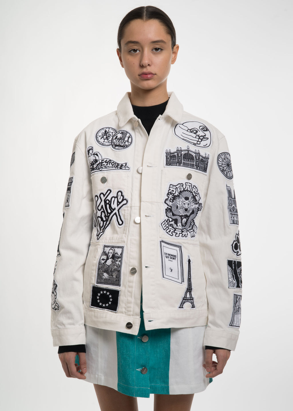 White Guest Patch Denim Jacket