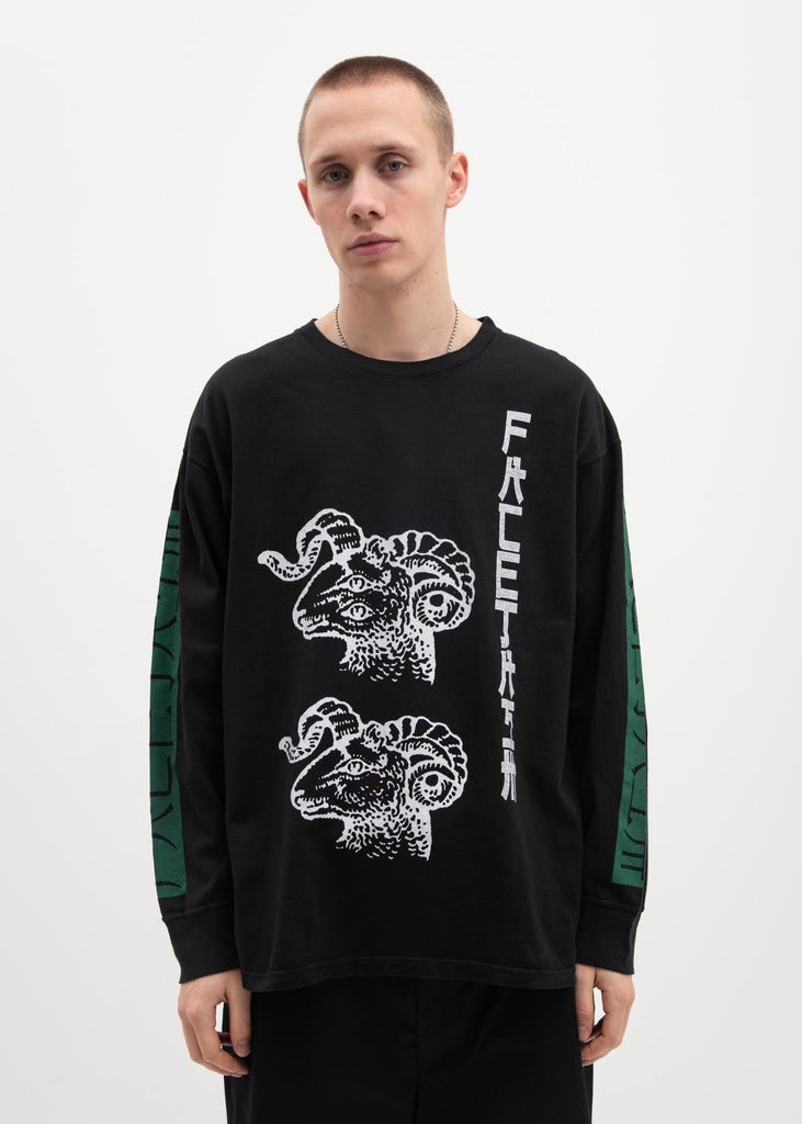 Facetasm, Black Graphic Long Sleeve T-Shirt, 017 Shop