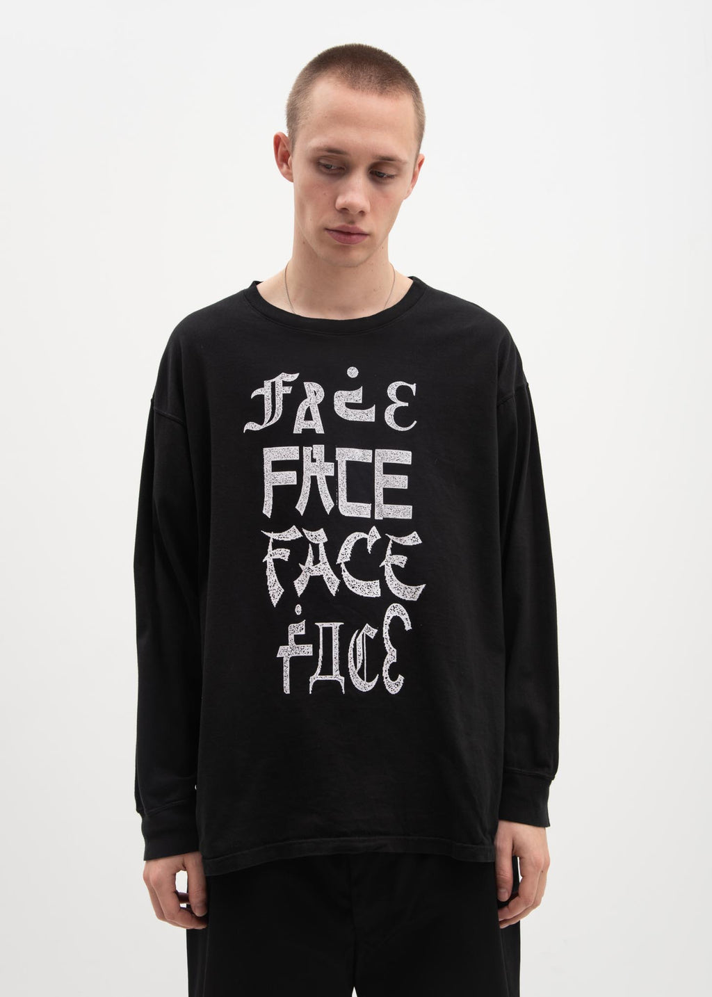 Facetasm, Black Logo Long Sleeve T-Shirt, 017 Shop