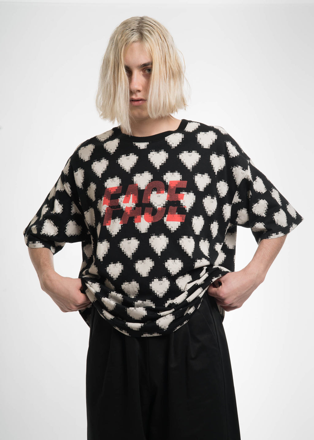 Black Oversized Heart T-Shirt