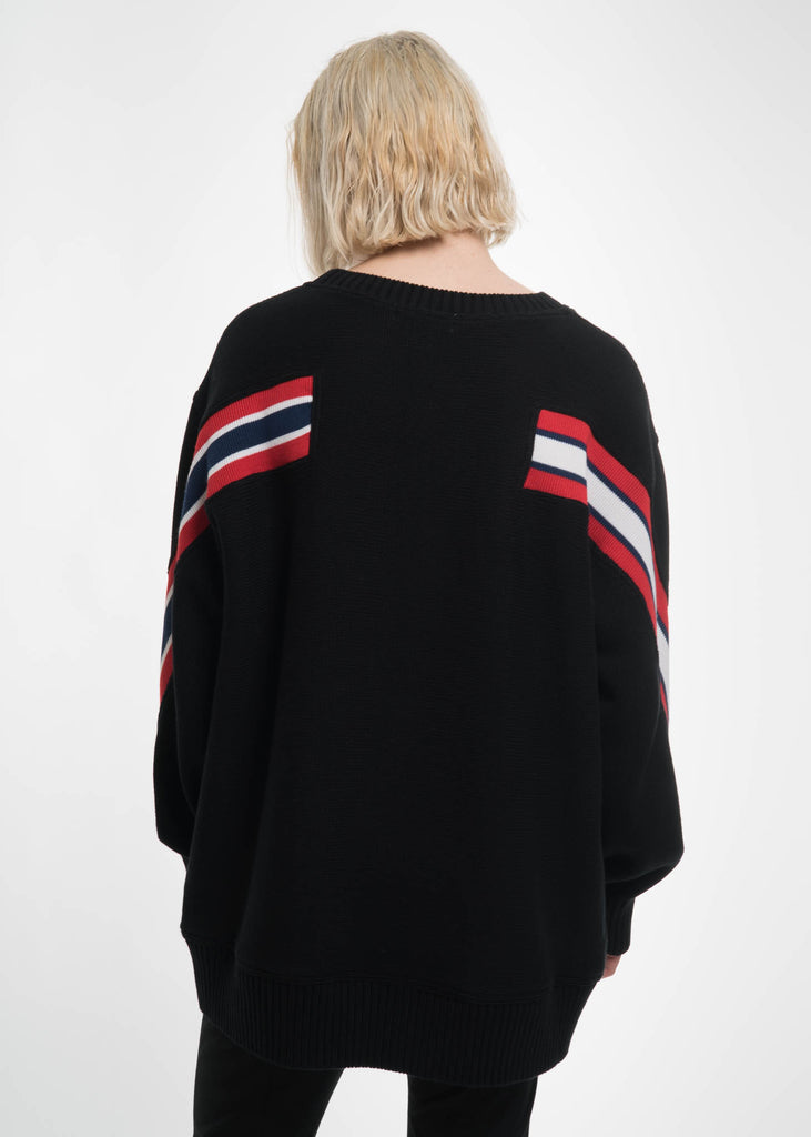 Black Oversized Knit Ribbed Sweater