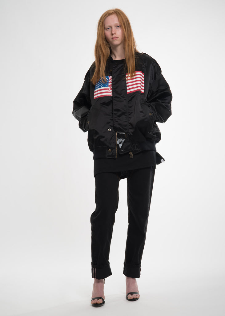 Black USA Bomber