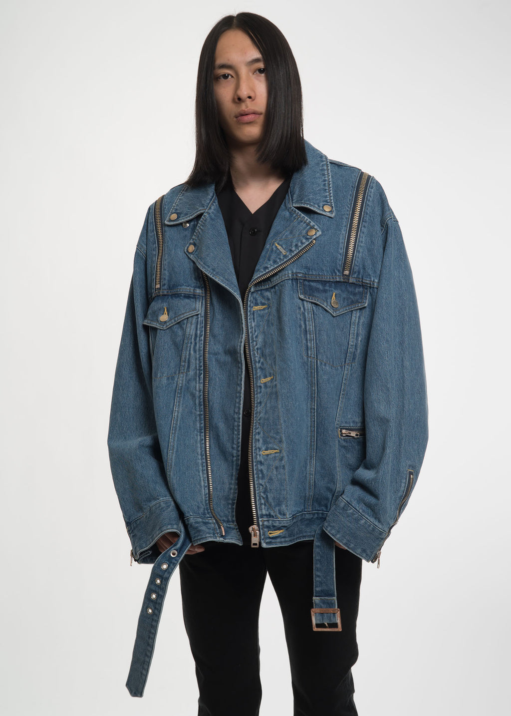 Blue Denim Zip Biker Jacket