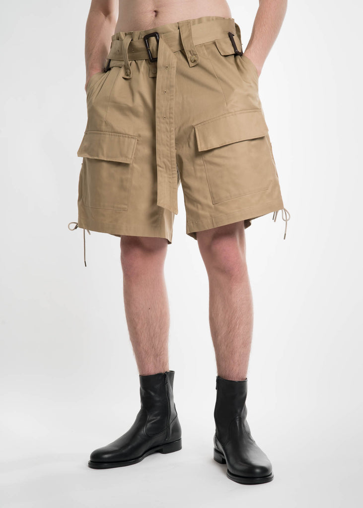 Khaki Lace Buckle Shorts