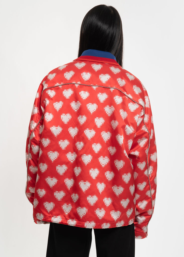 Facetasm, Red and White Oversized Heart Coach Jacket, 017 Shop