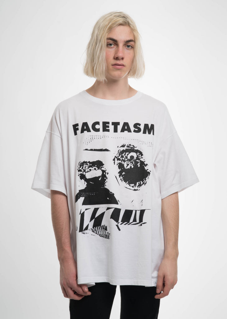 Facetasm, White Oversized Distorted Tee, 017 Shop