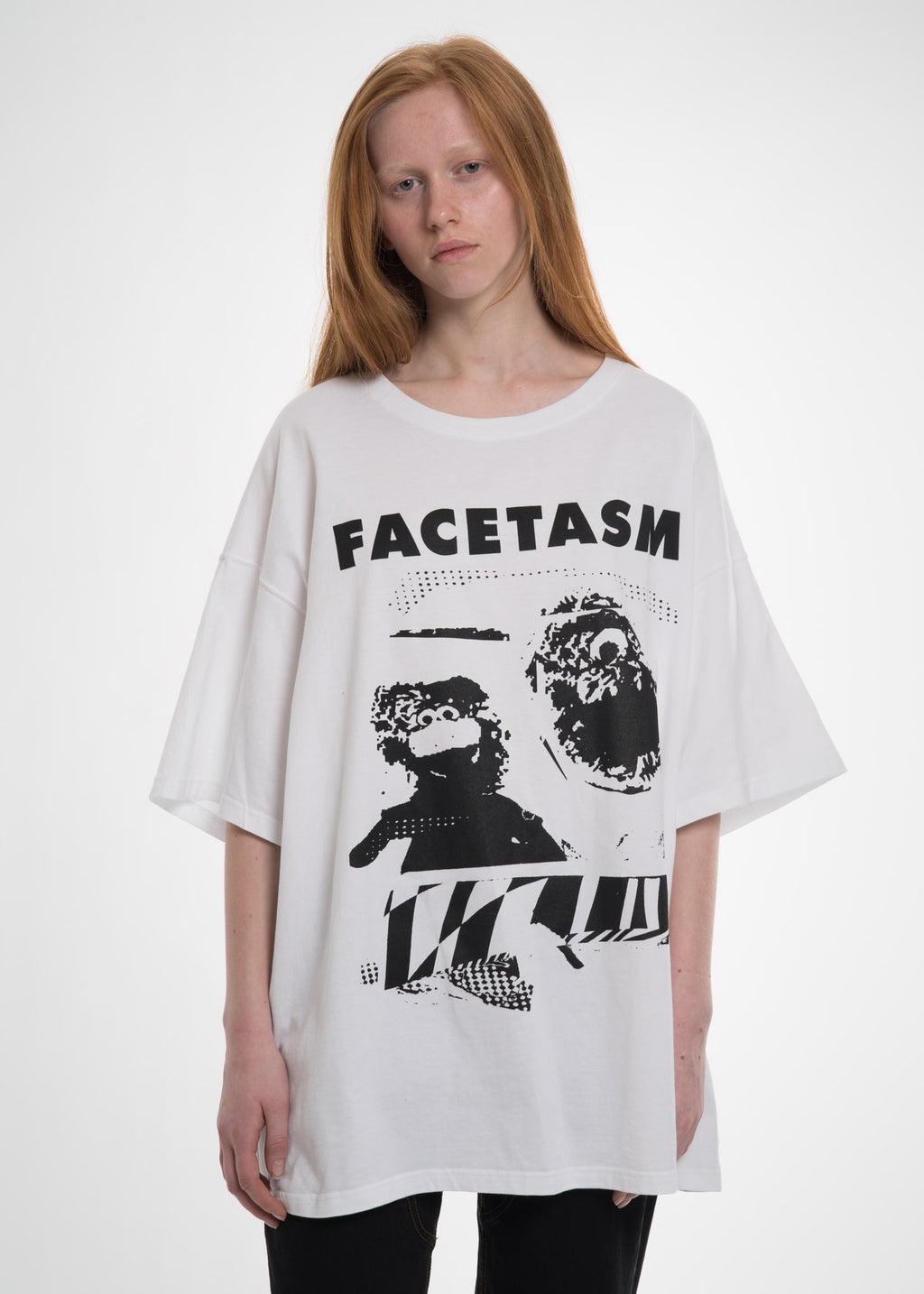 White Oversized Distorted Tee