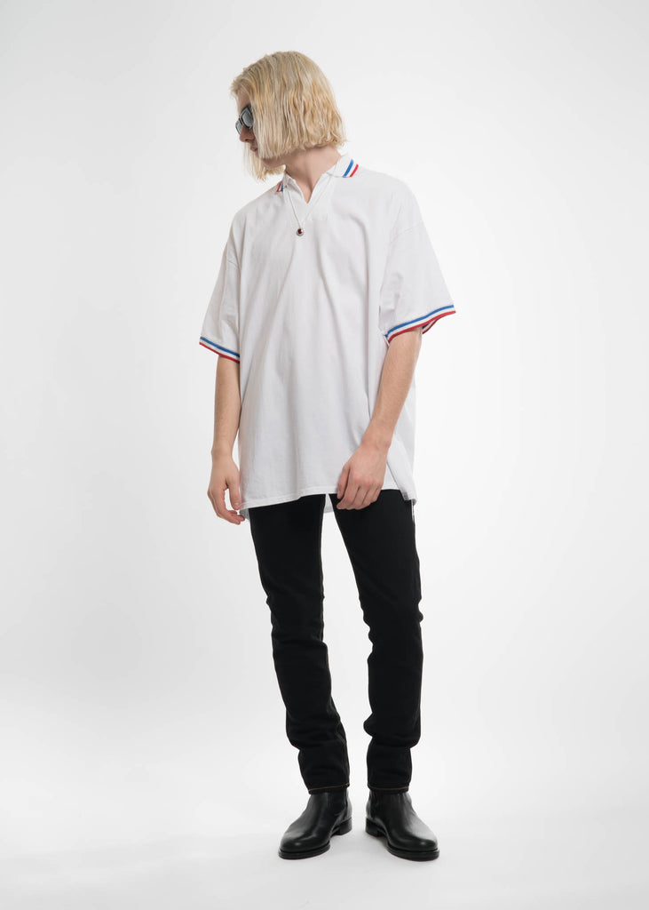 White Oversized Football Polo