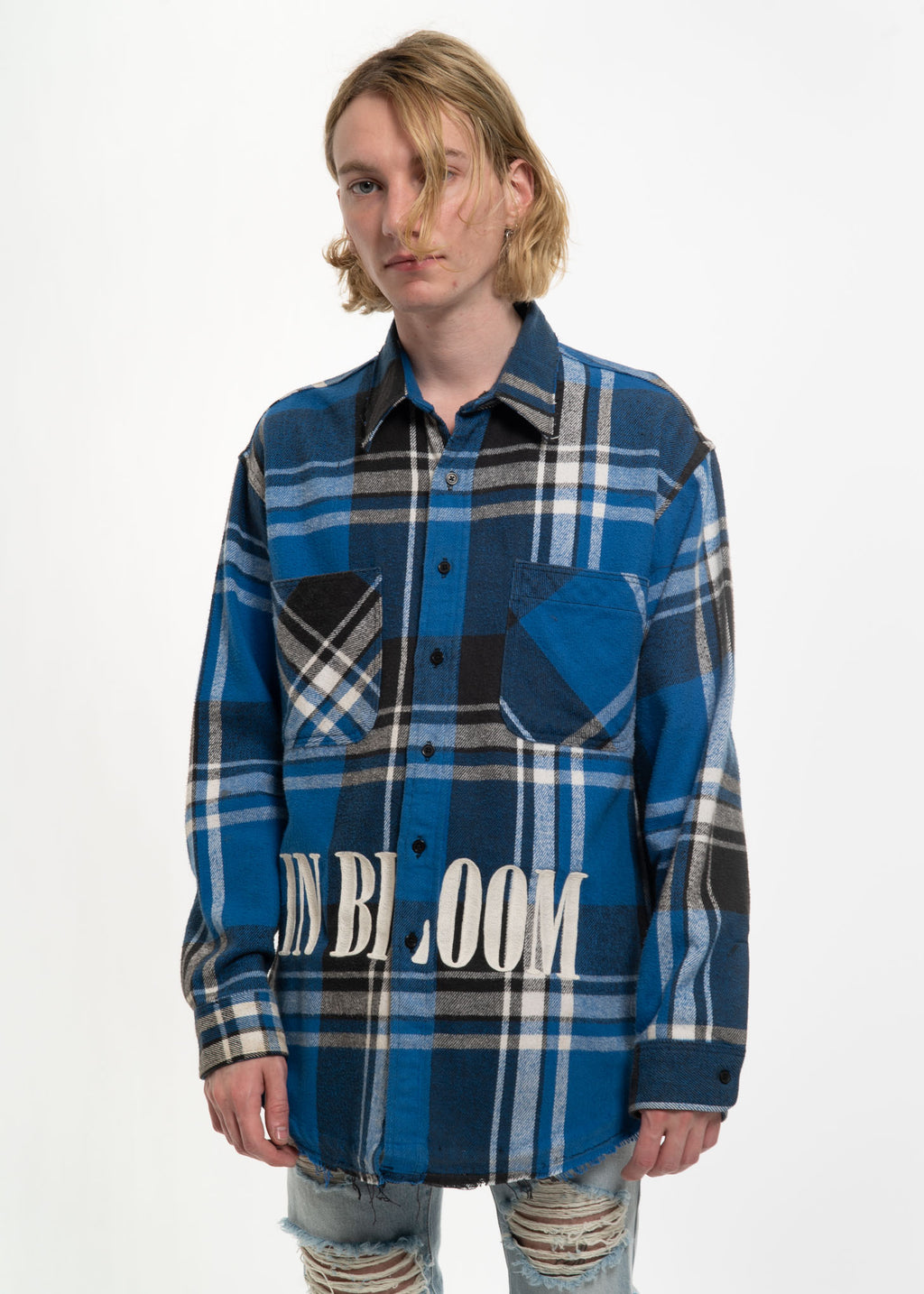 Blue Check Vintage Flannel w/ Embroidery 2
