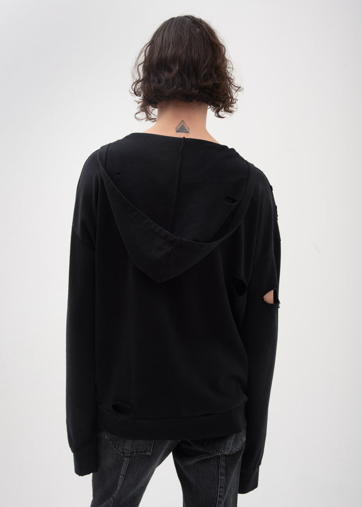 Garcons Infideles, Black Bauhaus Distressed Hoodie, 017 Shop
