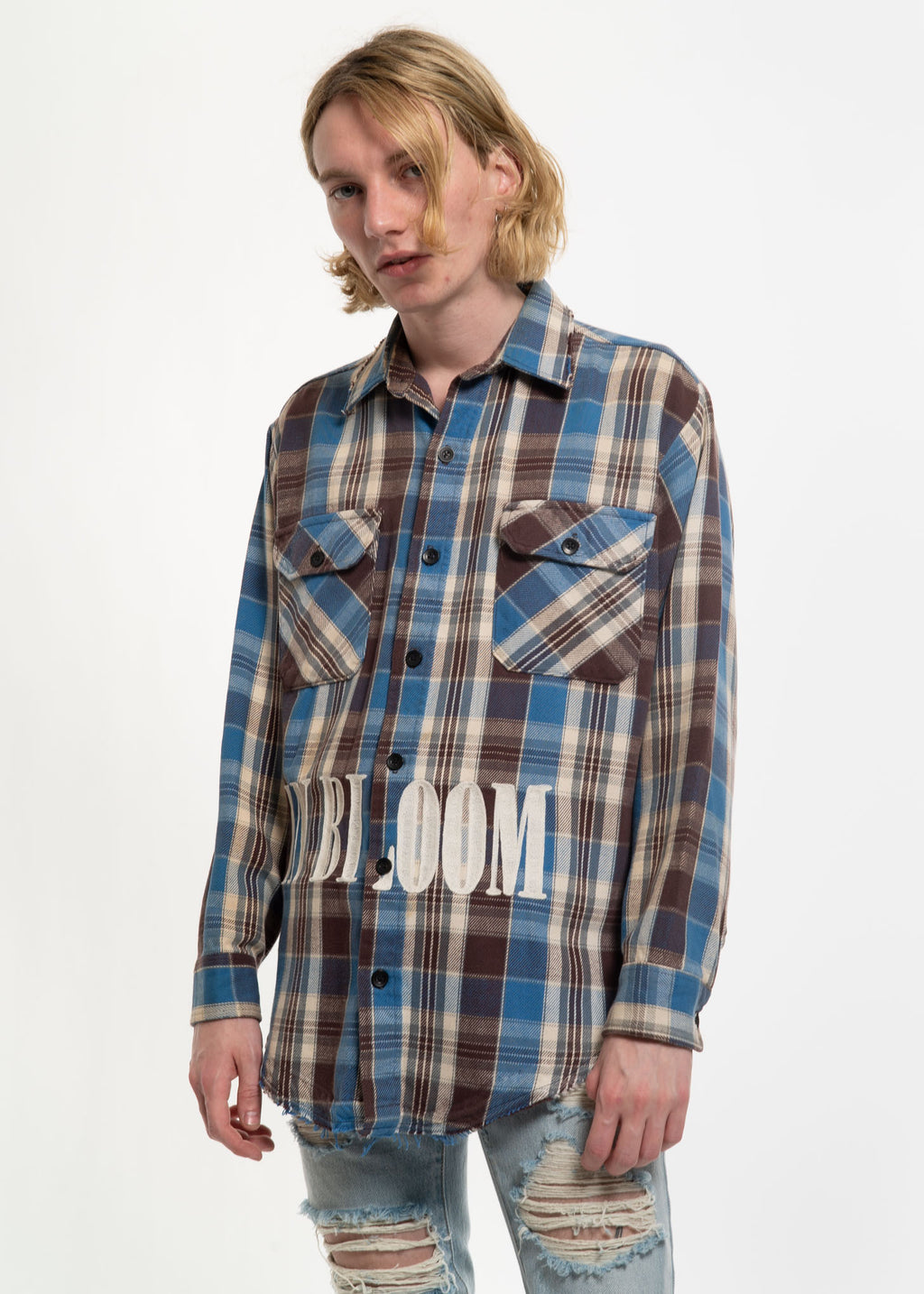 Blue Check Vintage Flannel w/ Embroidery 1