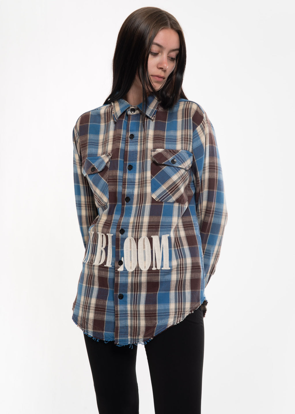 Garcons Infideles, Blue Check Vintage Flannel w/ Embroidery 1, 017 Shop