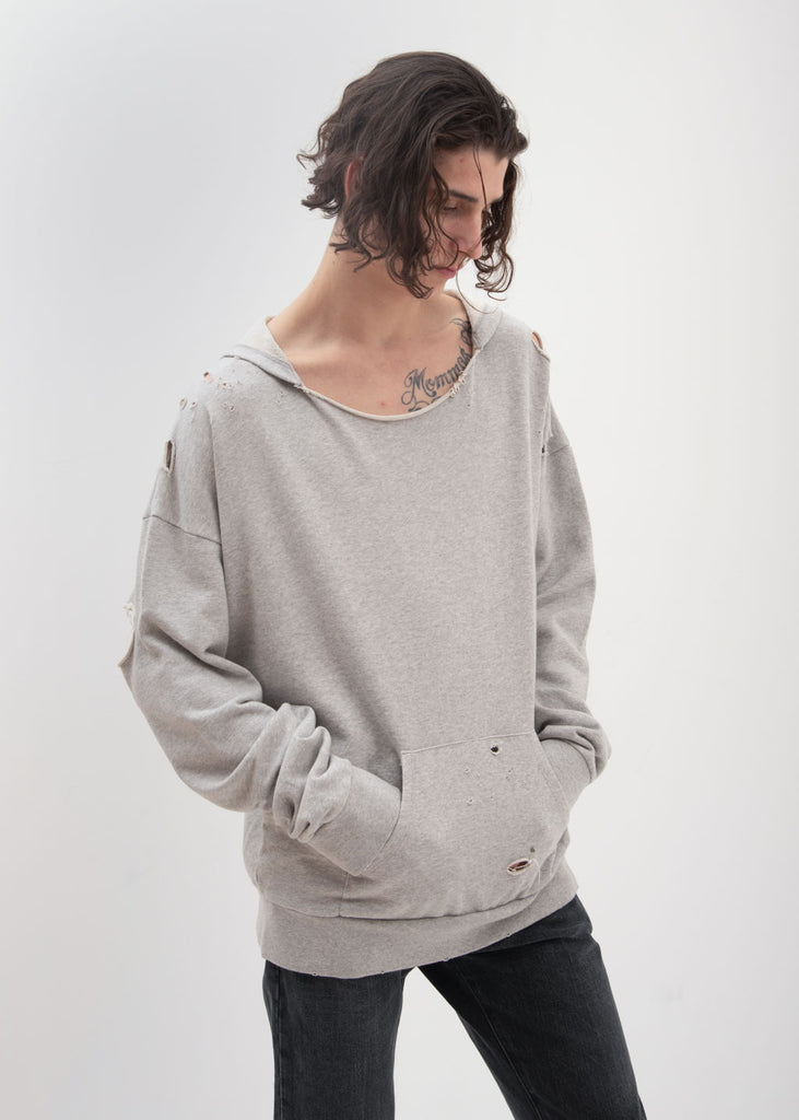Garcons Infideles, Grey Bauhaus Distressed Hoodie, 017 Shop
