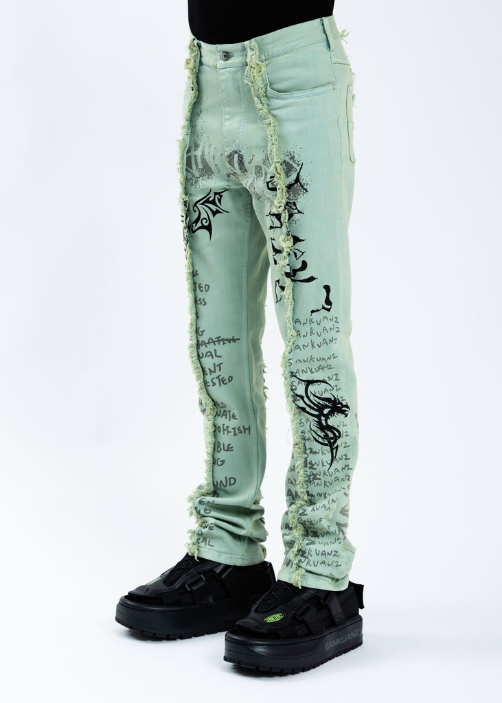Green Graffiti Denim Pants